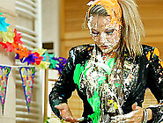 Classy Clothed Girls Rub Whipped Cream And Cake On Each Other