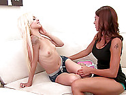 Big Breasts Babe And A Tiny Tits Blonde Make Lesbian Love