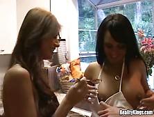 Three Lesbians Lick Chocolate Sauce Off Big Tits