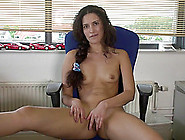Superb-Looking Curly Babe Masturbates On The Chair