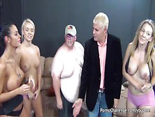 Huge Fat Man Gets Lucky With 3 Hot Porno Chicks