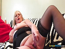 Bbw In Black Lingerie Pushes A Toy Into Her Cunt