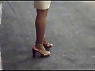 Candid Ebony Feet In Brown Strapp Heels