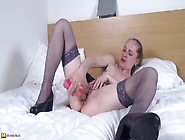 Pierced Solo Milf In Stockings Has Fun With A Toy