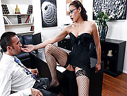 Smoking Office Babe Miko Lee Strips For Her Boss And Then Gets F