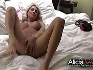 Beautiful Blonde Babe Pleasures Herself In Hotel Room