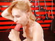 Milf Gags Hard On Dildo,  Rides It In Pussy Hard Till Cum