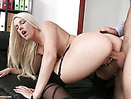Gorgeous Blond Lady In Sexy Stockings Gets Ass Fucked From Behin