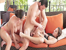 Amirah Adara & Stepmom Martina Gold Share A Hard Cock In An Outdoor 3Way