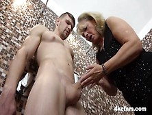 Cfnm - Granny Rubs Hot Load Onto Her Old Pussy
