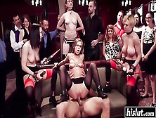 Three Slave Girls Participate In Bdsm Orgy With Rough Brutal Ana