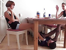 Under The Table Nylon Foot Worship From