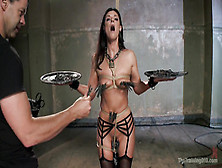 Dark Haired Woman Gets Throat Fucked In Bdsm Action
