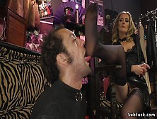 Divine Brunette Mistress Anal Bangs Dude