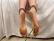 Milf Strips Panties Ankles Cuffed Feet Teased & Fucked