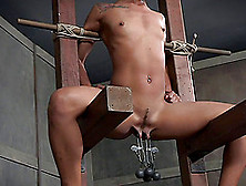 Chocolate Cutie With Braids Has A Fun Time During A Bdsm Session