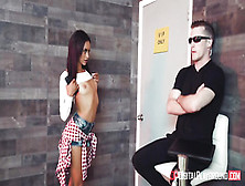 Petite Brunette Spreads Legs In Front Of A Security Guard