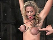 Kylie Worthy In Breast Bondage,  Gagged And Whipped Hard And Non-