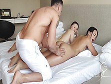 2 Teenie Hoes Getting Fuck By Massive Dong Of Hotel Masseur Threesome