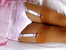 Gingham School Dress Cotton Panties & Nylon Stockings