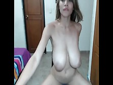 Skinny Big Melons Teeny Hard Dildo Ride And Masturbates On Webcam