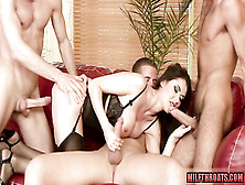 Milf In Black Lingerie Gets Gangbanged