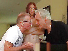 Young Student Old Teacher And Old Man Plays With Young Pussy And