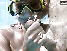 Underwater Handjob,  Blowjob And Cum.  Pool Diving