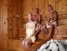 Shy Lady With Unreal Massive Melons And 2 Males In Sauna