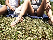 Ex-Wife Chilling In Park With Dress Flashing Thong And Cameltoe