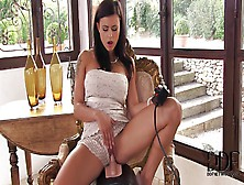 Busty Brunette Beauty Rides Sybian To Orgasm