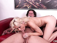 Margo Russo Nibbles On His Knob Then Gets Nailed On The Couch