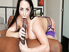Passionate Lady Angel White Deeply Sucking Colossal Black Penis