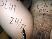 Cuck Hubby Preparing His Hotwife For Wild Sex Party! Body Writings!