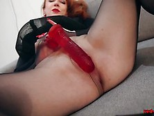 Red Xxx Solo Play In Nylons And Lingerie
