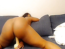Big Booty Ebony Co-Ed Rides Dildo