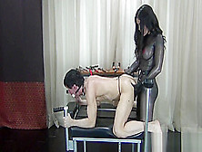 Lifestyle Domme Pegging Her Caged Slut