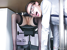 Big-Titted Bossy Bitch Fucks A Guy Half Her Age In The Office.