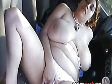 Plump Teen Brunette With Big Tits Is Spreading Up And Masturbating In The Car And Enjoying It
