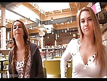 Two Teens Flashing Her Pussy And Tits At Mall (1)