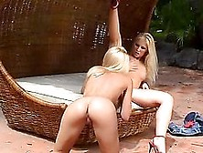 Two Kinky Babes Are Sharing A Huge Cock On The Poolside