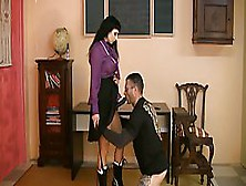 Kinky Sub Bends Over For His Mistress And Lets Her Spank Him And