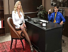 Guy In The Office Secretary Fucked In Stockings And Cums On Large Milk...