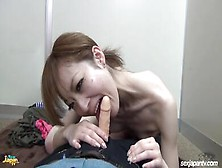 Skinny Japanese Teen Teasing Her Self With Fake Cock