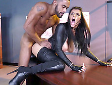 Black Office Boy Fucks Panther In Leather Suit Romi Rain On Tabl