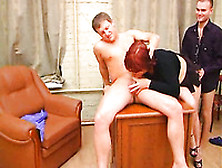 Russian Redhead Mommy Blows My Big Cock In Threesome