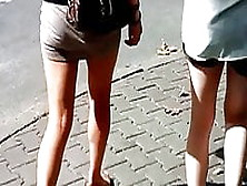 Girls Walking In Sexy Mini Skirts