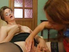 Pigtailed Redhead Treats A Granny