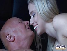 An Old Bald To Make This Young Blonde Enjoy