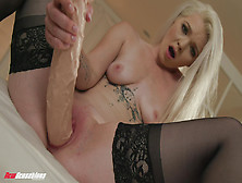 Blonde Beauty Inserts Giant Toy Cock In Flawless Xxx